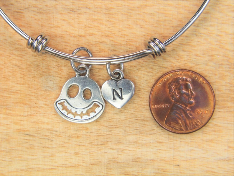 Ghost Bangle Silver Ghost Charm Bangle Halloween Jewelry Christmas Gift Ghost Pendant Personalized Initial Bangle