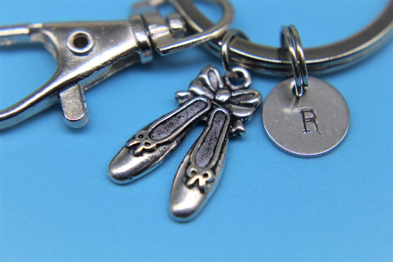 silver ballet shoes charm keychain ballet shoes charm keychain dance pendant personalized keychain initial keycharm monogram jew