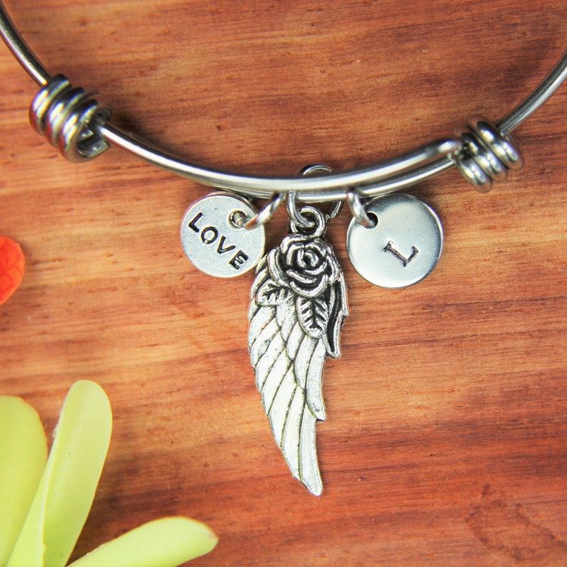 Angel Wing with Flower Bracelet Angel Wing Gift Love Charm Angel Wing Bangle Halloween Charm Wing Pendant  Personalized Gift Coworker Gift