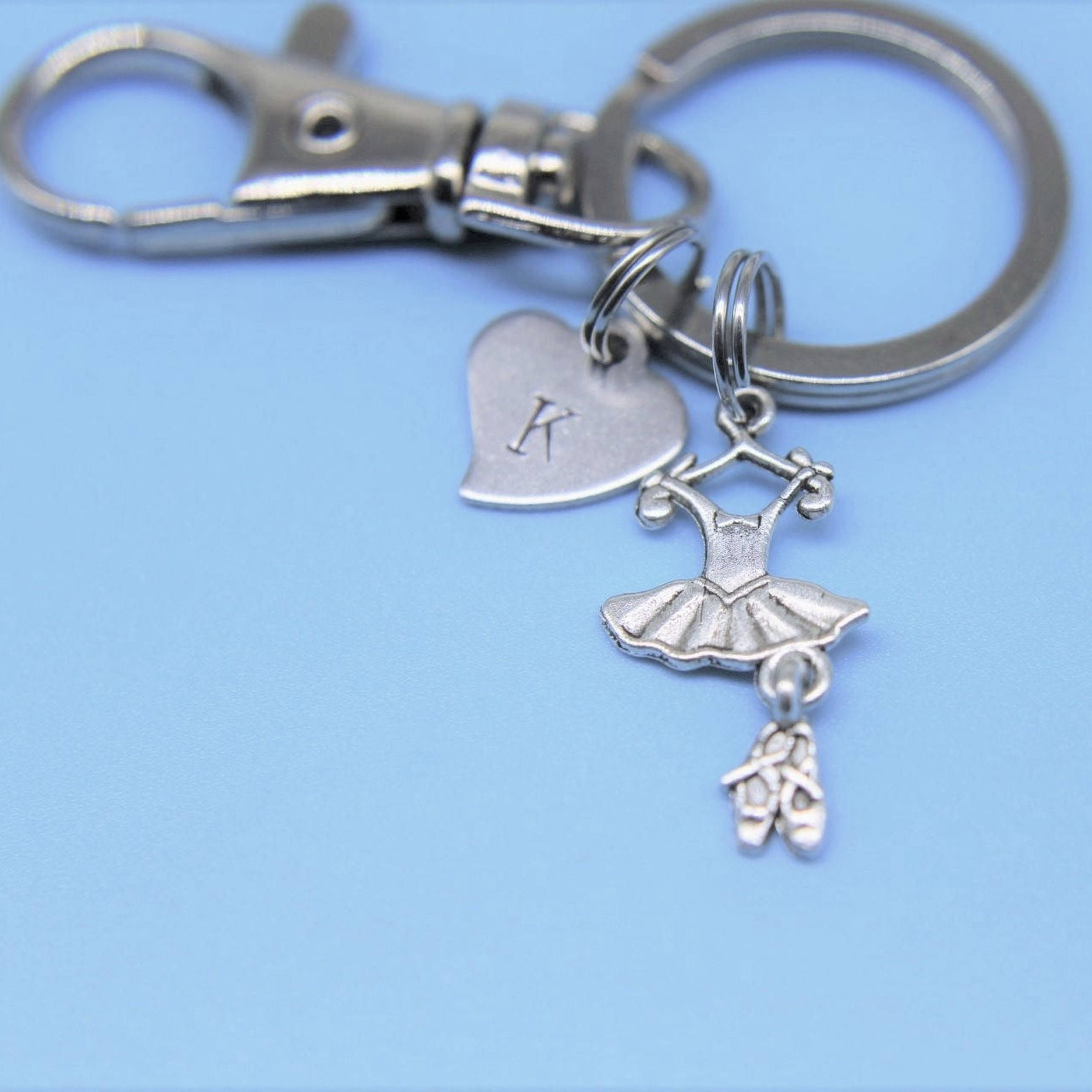 ballet suit and shoes with initial charm on a key ring ballet suit and shoes charm keyring ballet suit pendant ballet suit and s