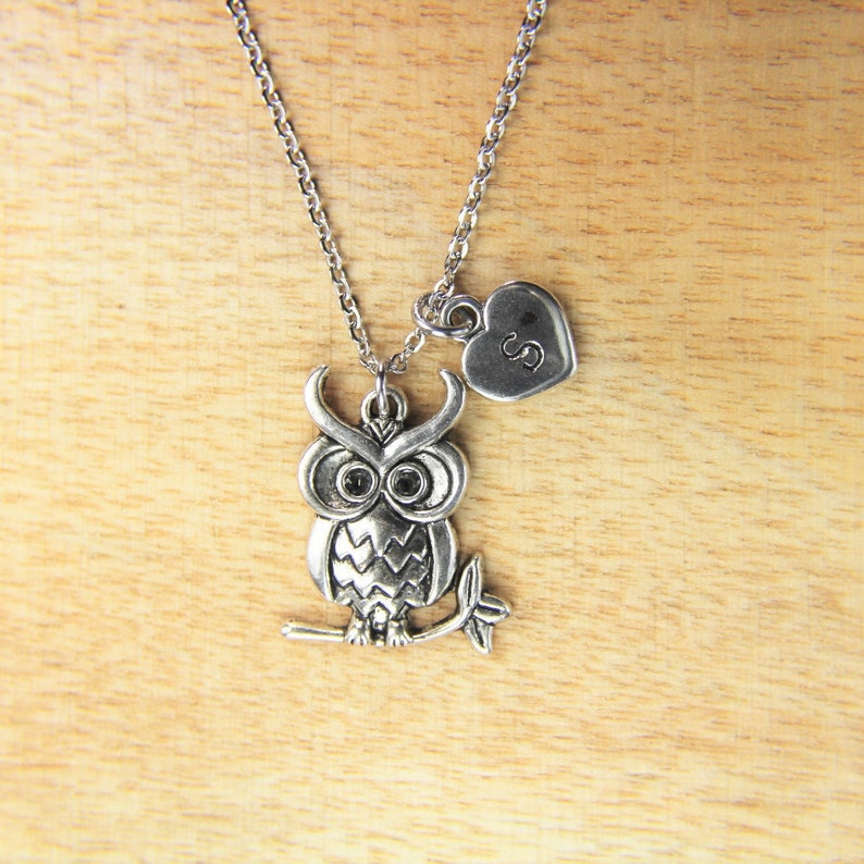 Owl Necklace Silver Owl Charm Necklace Halloween Gift Owl Gift Birthday Gift Animal Gift Personalized Gift Initial Necklace