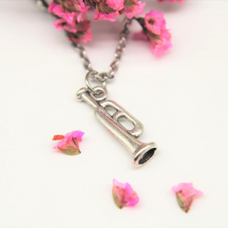 Silver Trumpet Charm Necklace Trumpet  Necklace Trumpet Gift  Music Gift  Music Instrument Charm Personalized Gift Music Teacher Gift