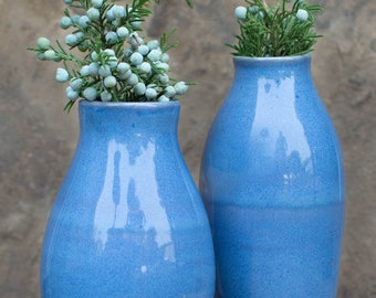 Bud Vase Set - Set of 2 - Red - Purple - Tan - Ceramic