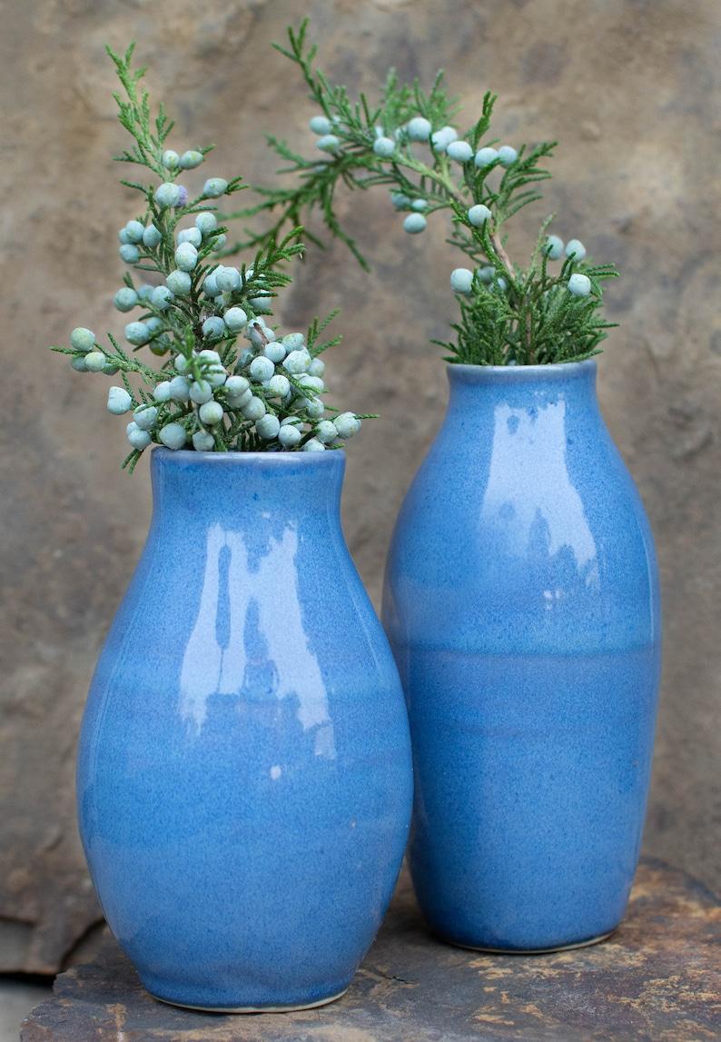 Bud Vase Set  Set of 2  Red  Purple  Tan  Ceramic Blue