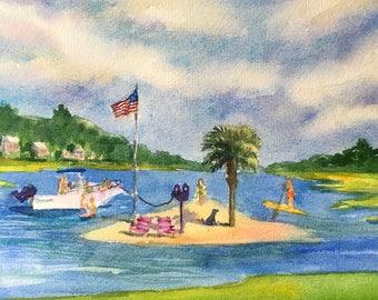"Palm Tree Island, Wrightsville Beach NC - Original Watercolor 18""x24"""