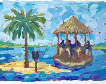 "Tiki Boat at Palm Tree Island - Original Gouache painting 6""x9"""