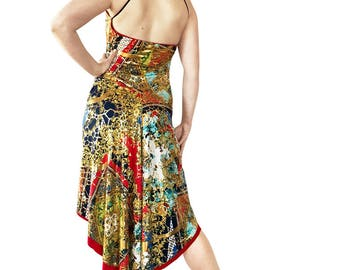 Godet Tango Dress Open Back Tango Dress;Fishtail Tango Dress;B/&W Gold Ruffle