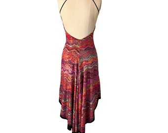 64e236c3d5 Hot Pink Gold Zigzag  Reversible Tango Dress  Fishtail Tango Dress  Milonga  Dress