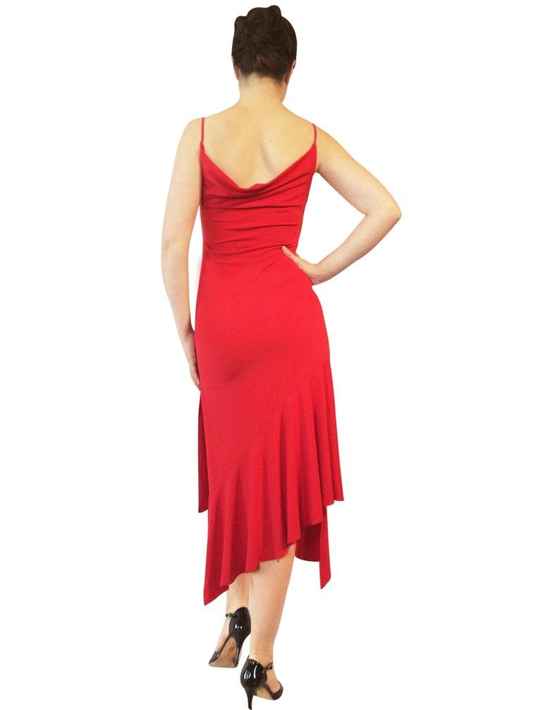 Drape neck Tango Dress; Milonga Dress Long assymetrical dance dress