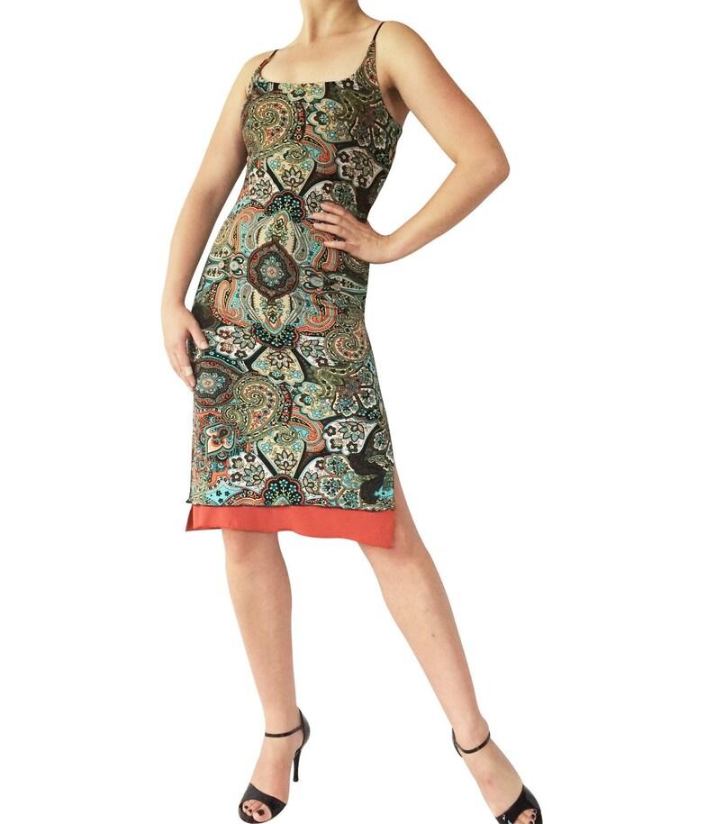 Reversible Tango Dress; Cross Back Strap Tango Dress; Milonga Dress; Olive Orange Paisley