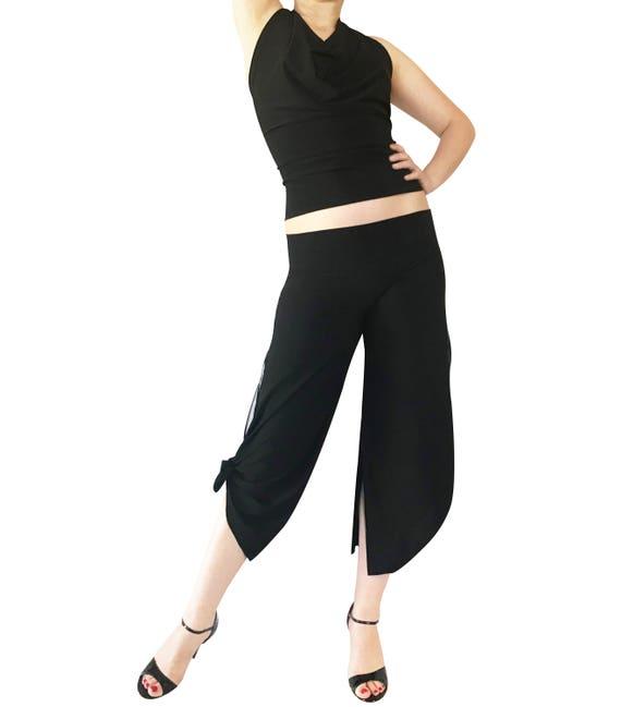 Cropped Tango Pant; Double Slit Tango Pant; Milonga Pant;Turquoise-Blue Rhinestone