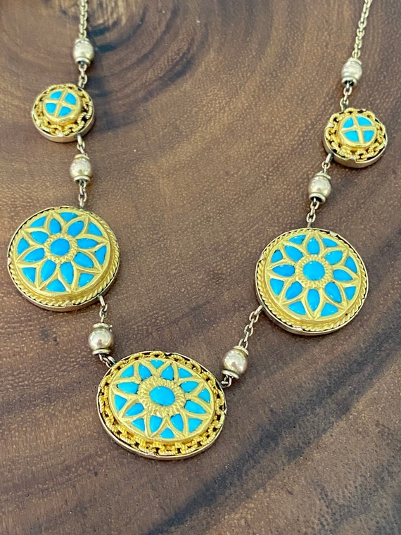 Victorian Turquoise 14K Gold Necklace