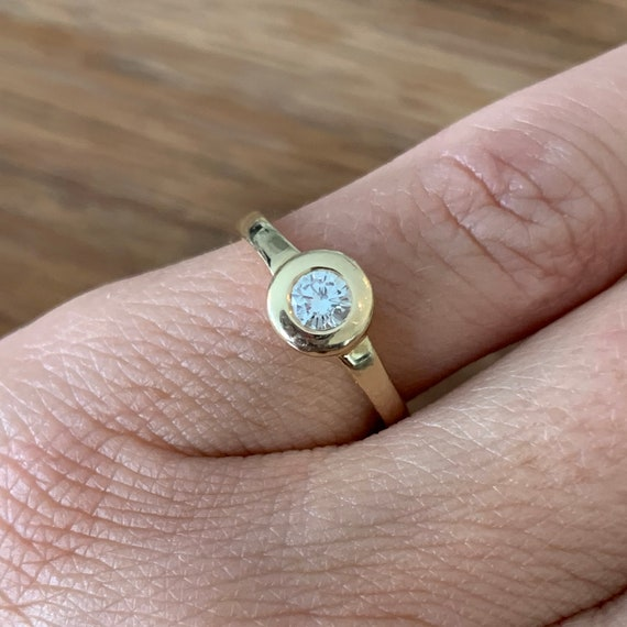 Diamond 14K Gold Solitaire Ring - image 2