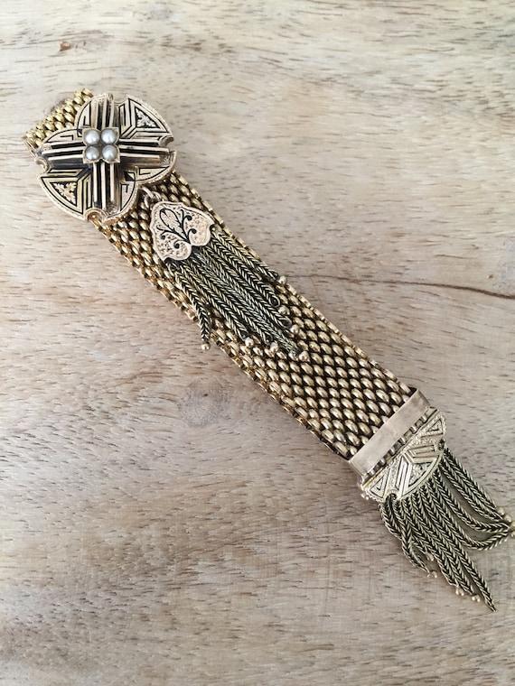 Antique Gold Pearl Enamel Slide Bracelet