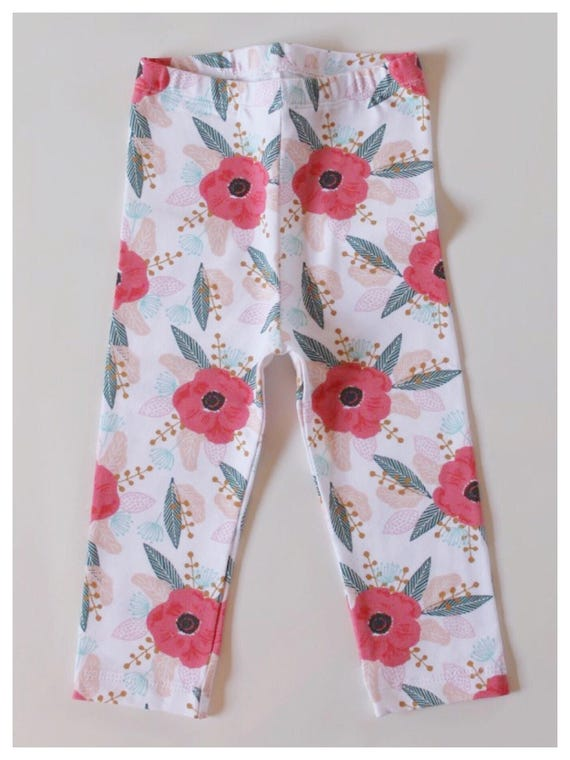 Baby Leggings Baby Girl Leggings Baby Pants Baby Girl Clothing RTS Baby Leggings in Plummage Poppy Leggings Peach Leggings