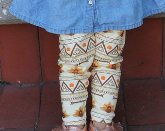 Aztec Turkey Leggings - Thanksgiving, leggings, girl outfit, holiday outfit, turkey day, girl pants, turkeys, fall outfits, fall leggings
