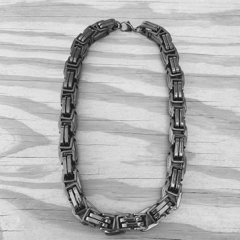 Daytona Beach Heritage 12 inch wide Galvanized Stainless Biker Necklace Motorcycle Jewelry