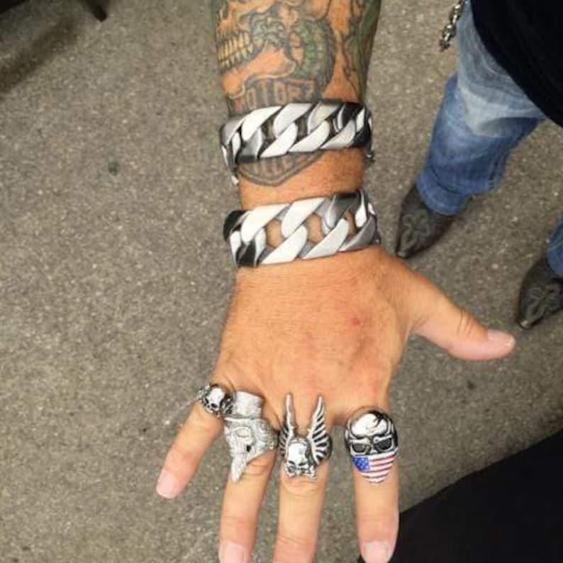 Biker Bagger Bracelet Men brushed Stainless 1 Wide- The Custom b18
