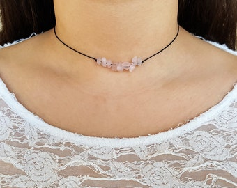Rose Quartz Choker, Choker Necklace, Pink Chips Choker, Healing Crystal, Crystal Necklace, Healing Necklace, Gemstone Choker, Boho Choker