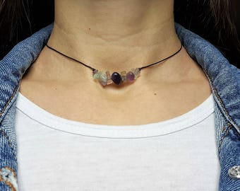 Rainbow Fluorite, Choker Necklace, Fluorite Choker, Purple Chips Choker, Healing Crystal, Crystal Choker, Healing Necklace, Gemstone Choker
