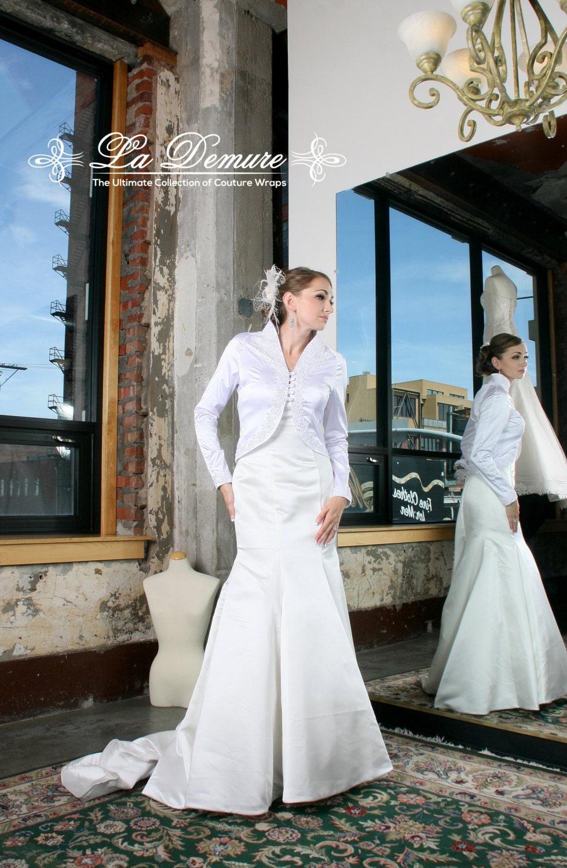 White Satin Jacket White Bridal Jacket Made In Satin With Etsy