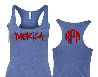 4th of July Tank Top, 4th of July Shirt Womens, Fourth of July Shirt, Fourth of July Tank, Merica Tank, Merica Shirt, Monogram Tank, Glitter