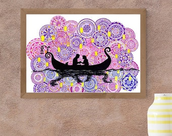 Rapunzel - Tangled movie boat scene - art print