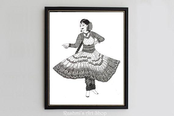 Indian Kathak Dancer Art Print Wall Decor Etsy