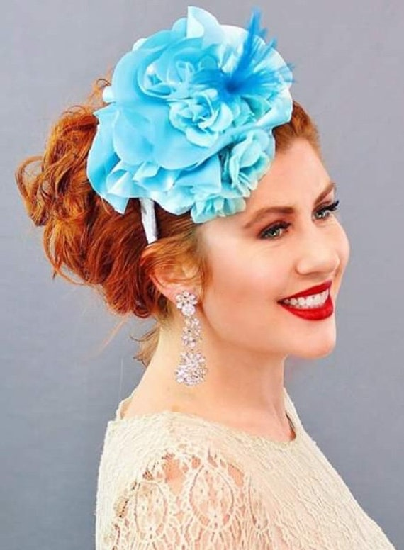 Blue Satin Silk Ruffle Fascinator Derby Hat Wedding  475977f9289