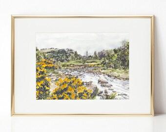 Glendalough, Monastic Ruins, Glendalough watercolor, Ireland, County Wicklow, Ireland landscape, Wicklow Mountains National Park, Braveheart