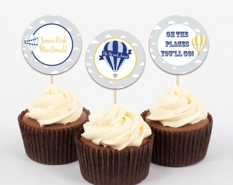 Hot Air Balloon Cupcake Toppers, Up Up and Away Cupcake Toppers, Hot Air Balloon Party Circles, Navy Mint & Yellow, Personalized