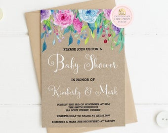 Oh Baby Rose Baby Shower Invitation Watercolor Roses | Etsy