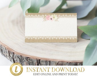 Shabby Chic Place Card Template Wedding Template Wedding Download Wedding Place Card Printable Place Cards Tent Cards Printable Wedding