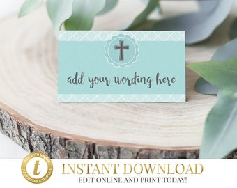 Baptism Place Cards, Christening, Communion, First Communion, Confirmation, Seating Cards, Food Label, Name Card, Tent Card INSTANT DOWNLOAD