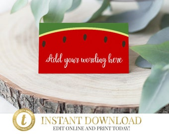 Watermelon Tent Cards, Watermelon Place Cards, Watermelon Labels, Watermelon Buffet Cards, Instant Download, Print Yourself