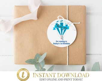 Blue Hot Air Balloon Favor Tags, Up Up and Away Favor Tags, INSTANT DOWNLOAD, Thank you tags, Birthday, Christening, Baby Shower, Thank You