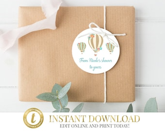 Hot Air Balloon Favor Tags, Up Up and Away Baby Shower, Printable Thank You Tags, Balloon Baby Shower, Gift Tags, Birthday Party, Favor Tag