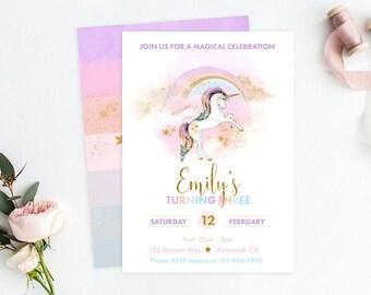 Rainbow Unicorn Invitation, Unicorn Birthday, Unicorn Party, Rainbow Invitation, Rainbow Birthday, Rainbow Party, Unicorn Invite, Printable