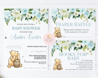 picture regarding Printable Winnie the Pooh Baby Shower Invitations called Winnie the pooh youngster shower invites Etsy