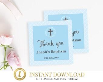 Pink Baptism Favor Tags Christening Tags Baptism Favors Etsy