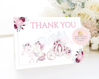 Pink Roses Unicorn Party Thank You Cards