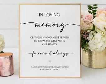 In Loving Memory Printable Wedding Sign, Remembrance Editable Template, DIY Wedding Memorial Table Sign, Custom Calligraphy 8 x 10 Sign