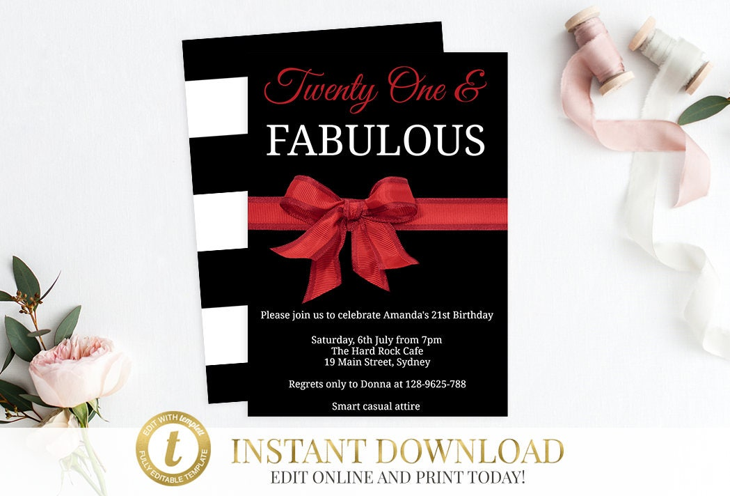 21st Birthday Invitation Printable 30th Invite INSTANT DOWNLOAD Editable