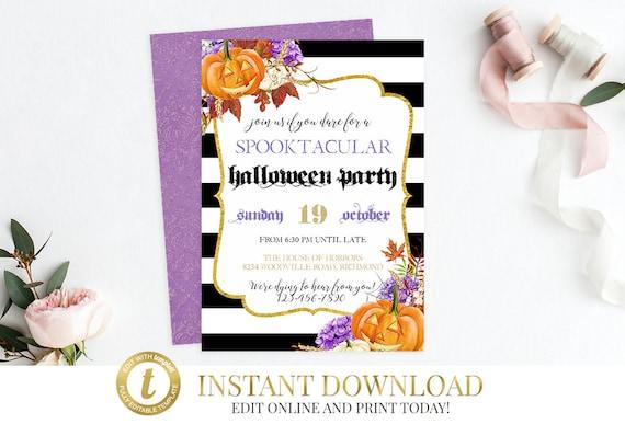instant download halloween party invitation halloween invite etsy