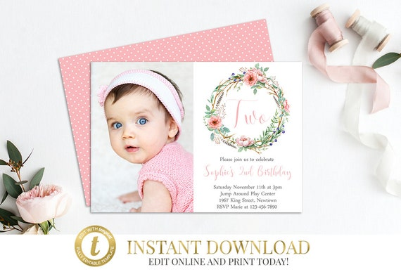Second Birthday Invitation 2nd Birthday Floral Invitation Etsy