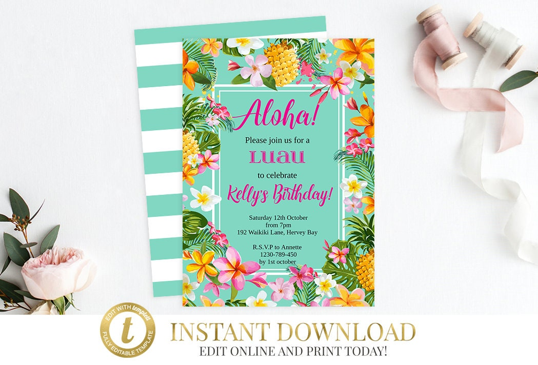 Instant download luau invitation luau birthday luau party instant download luau invitation luau birthday luau party hawaiian invitation birthday invitation hawaiian party hawaiian birthday stopboris Image collections