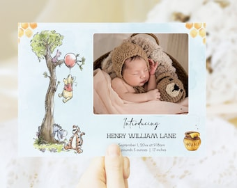 Winnie The Pooh Baby Announcement Card With Photo, DIY Baby Boy Birth Announcement Template, Printable 5x7 New Baby Card, Corjl