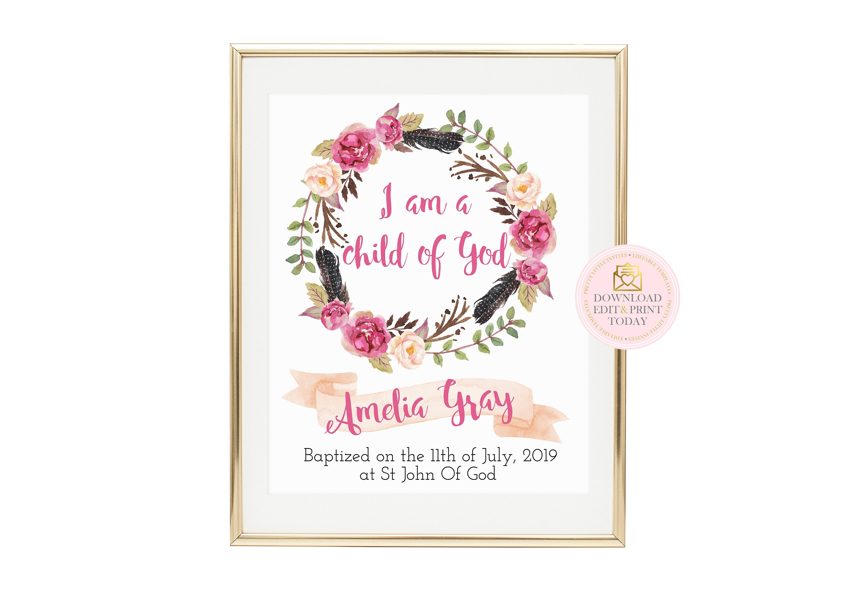 picture relating to Printable Spiritual Gifts Test Baptist titled I Am A Little one of God Printable Signal, Prompt Down load, Baptism Reward, Christening Present, Floral Wreath, Nursery Print, Christian Wall Artwork