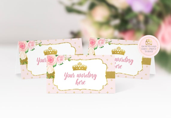 Princess Baby Shower Instant Download Princess Place Cards Princess Birthday Princess Pink and Gold Food Tent Cards Girls Baby Shower