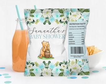 Winnie The Pooh Chip Bag Editable Template, Classic Pooh Bear Baby Shower DIY Decor, Edit Yourself Printable Chip Bag Wrapper